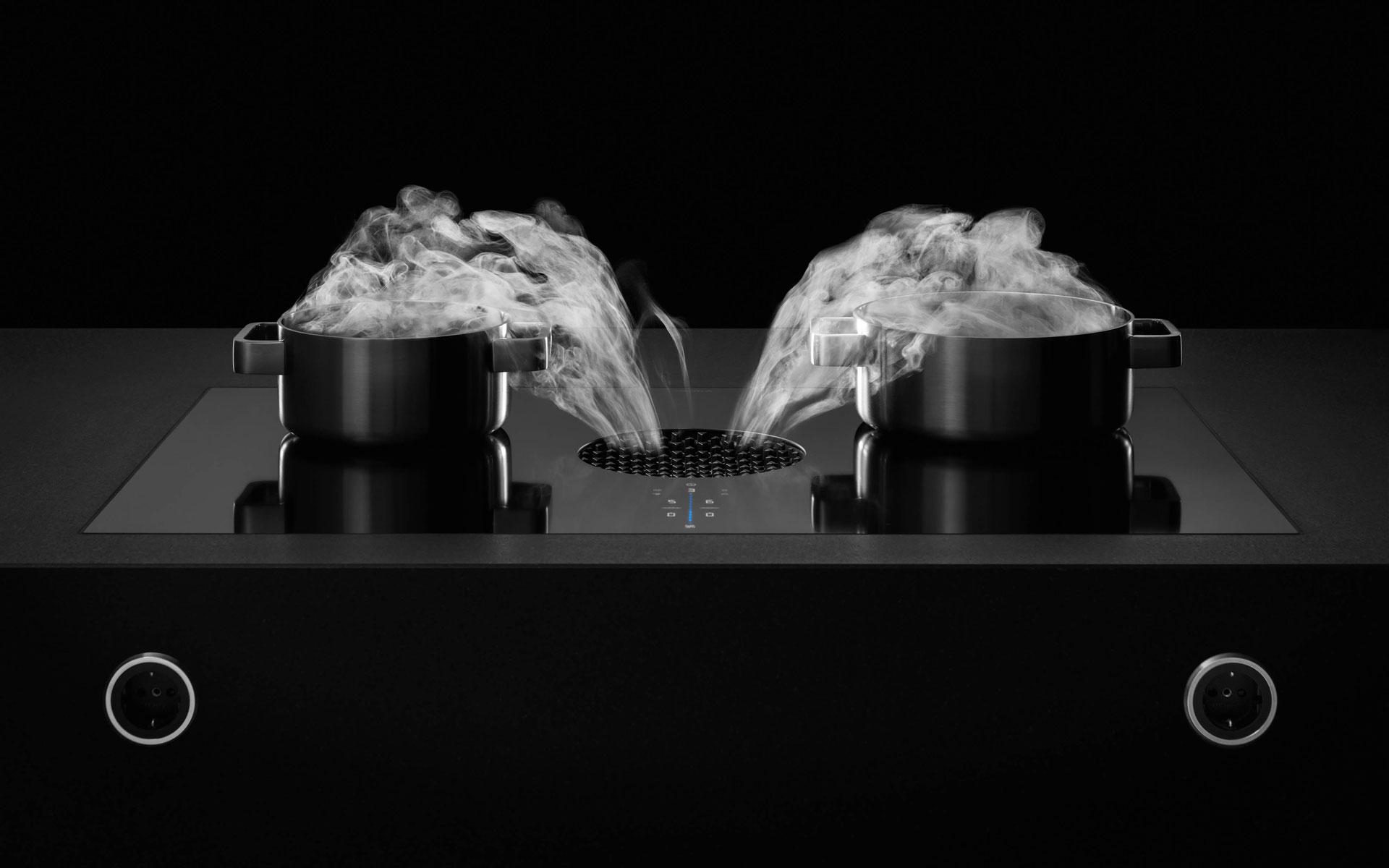 Dunstabzugsystems BORA X PURE mit 2 dampfenden Töpfen