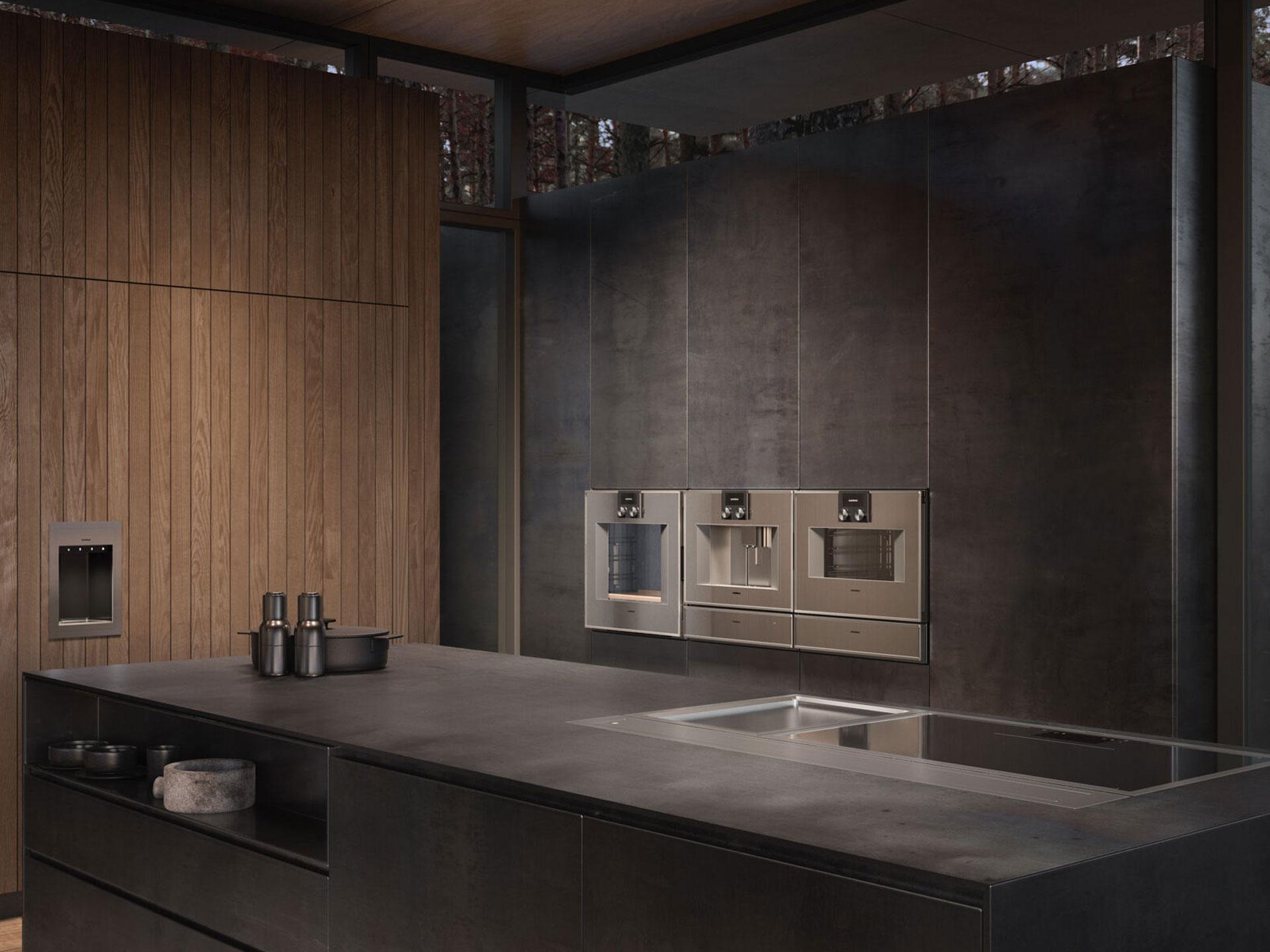 Drei Gaggenau Küchengeräte in Musterküche verbaut