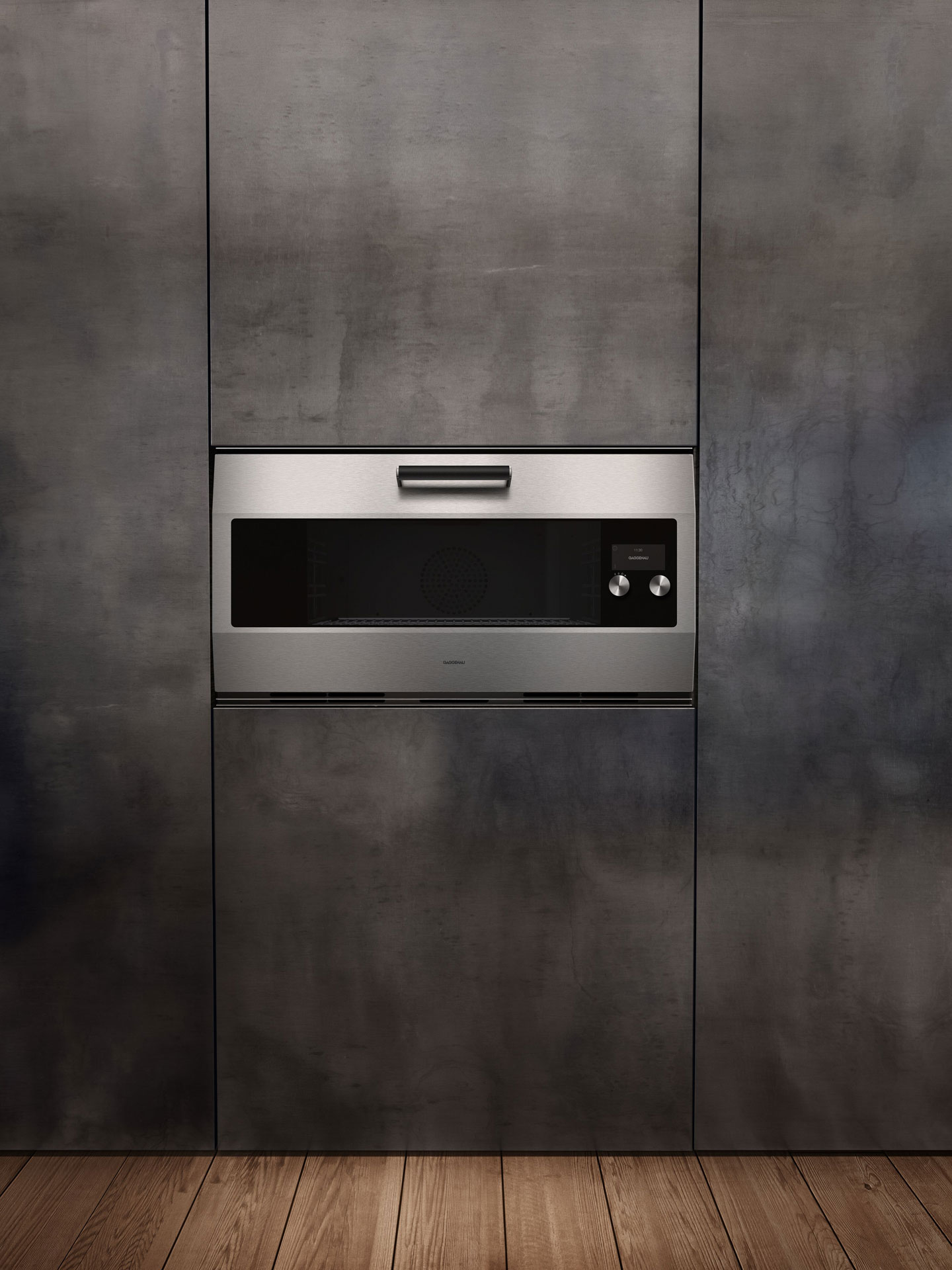 Gaggenau Klassiker EB 333 – Backofen flächenbündig in schwarzer Küchenzeile verbaut