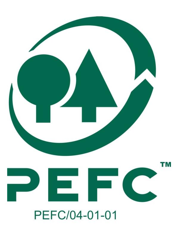 Logo PEFC - Grüne Symbole von Bäumen in einem Kreis